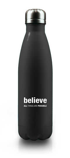 BELIEVE All Things are possible - Isolierflasche (schwarz)